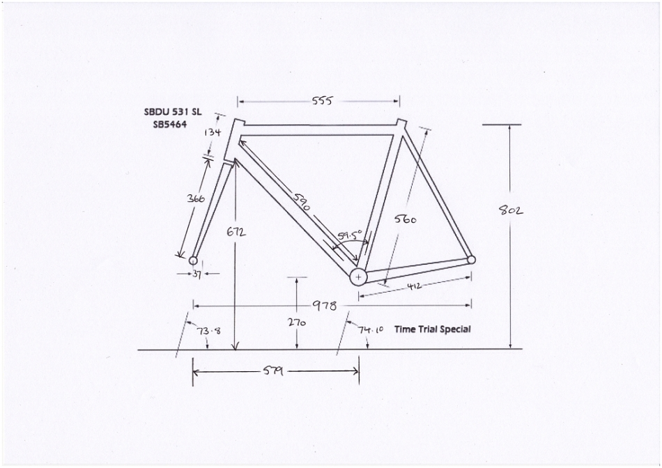 Raleigh SBDU Ilkeston Time Trial Special Dimension Measurements Stock