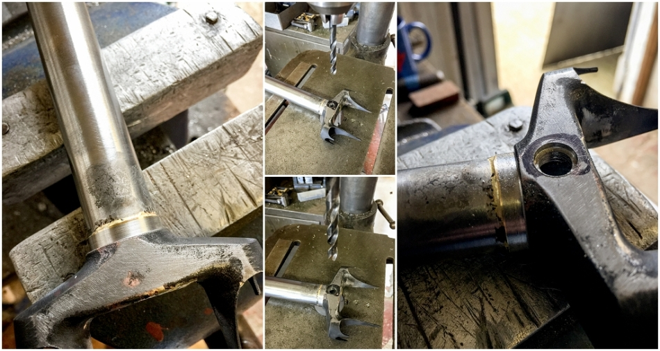 Dave Yates Frame Building Course Day 3 Fork Crown Brake Bolt Hole Marked Drilled and Countersunk