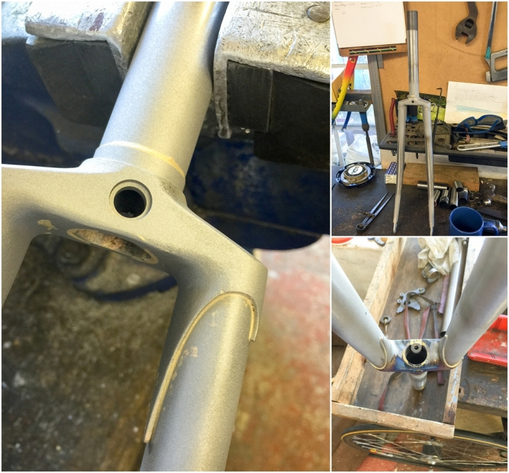 Dave Yates Frame Building Course Day 5 Forks Shotblasted