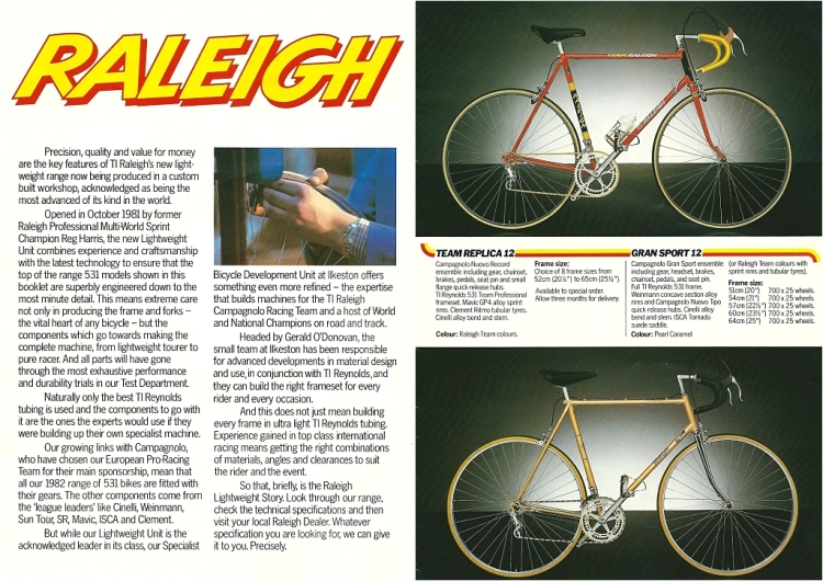 Raleigh Catalogue 1982 Featuring Raleigh Team Replica