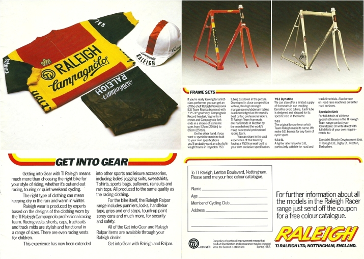 Raleigh Catalogue 1982 Featuring JR178T Jan Raas Track Frame Page 10 and 11