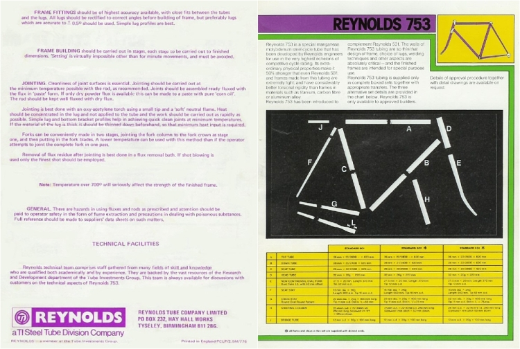 1975 to 1977 Reynolds 753 Tubing SBDU TI-Raleigh Road Frames 753 Tubing
