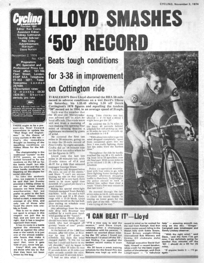 Dave Lloyd Cycling November 2 Article for October 1974