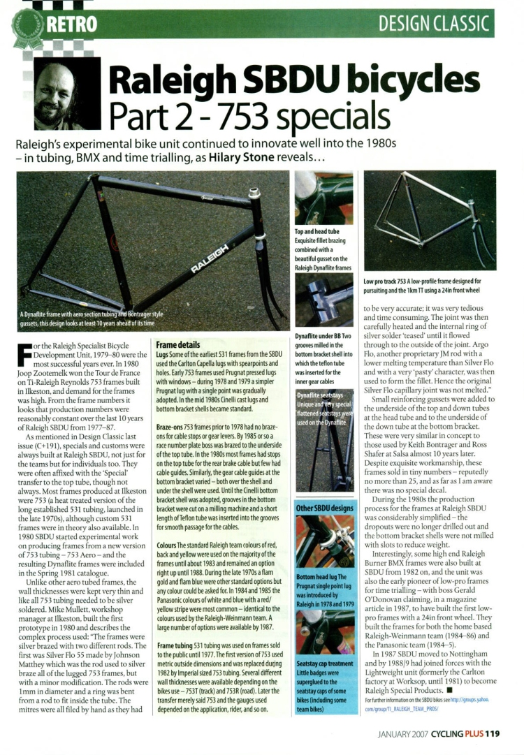 Design Classic Hilary Stone Cycling Plus - SBDU Part 2 January 2007 Dynaflite Reynolds 753 Oval Tubing