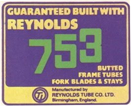 Early 75-76 753 Reynolds Tube Co Ltd Transfer