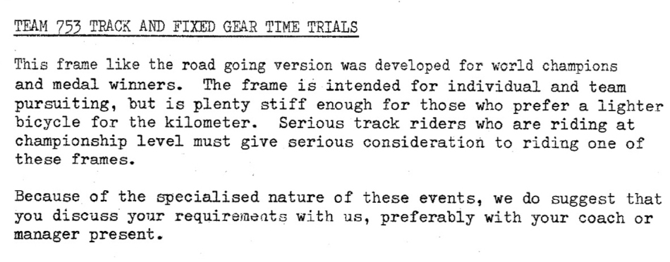 SBDU Ilkeston Team 753 Track Frame Description