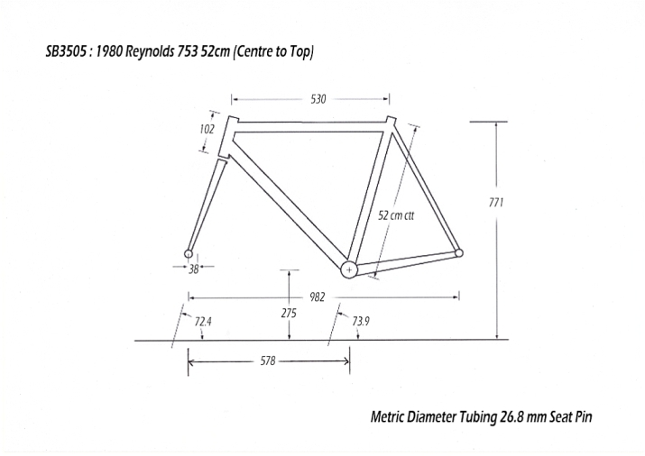 SB3505 1980 SBDU Ilkeston TI-Raleigh Team Pro Reynolds 753 Geometry Drawing