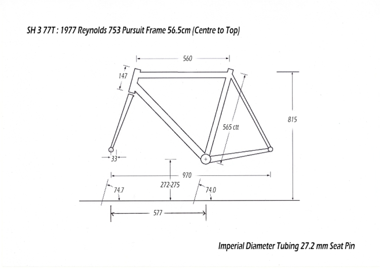 SH377T SBDU Reynolds 753 Pursuit Track Frame Geometry Drawing
