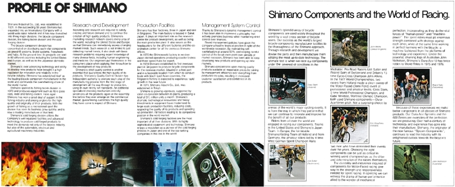 Shimano Bicycle System Components 1978