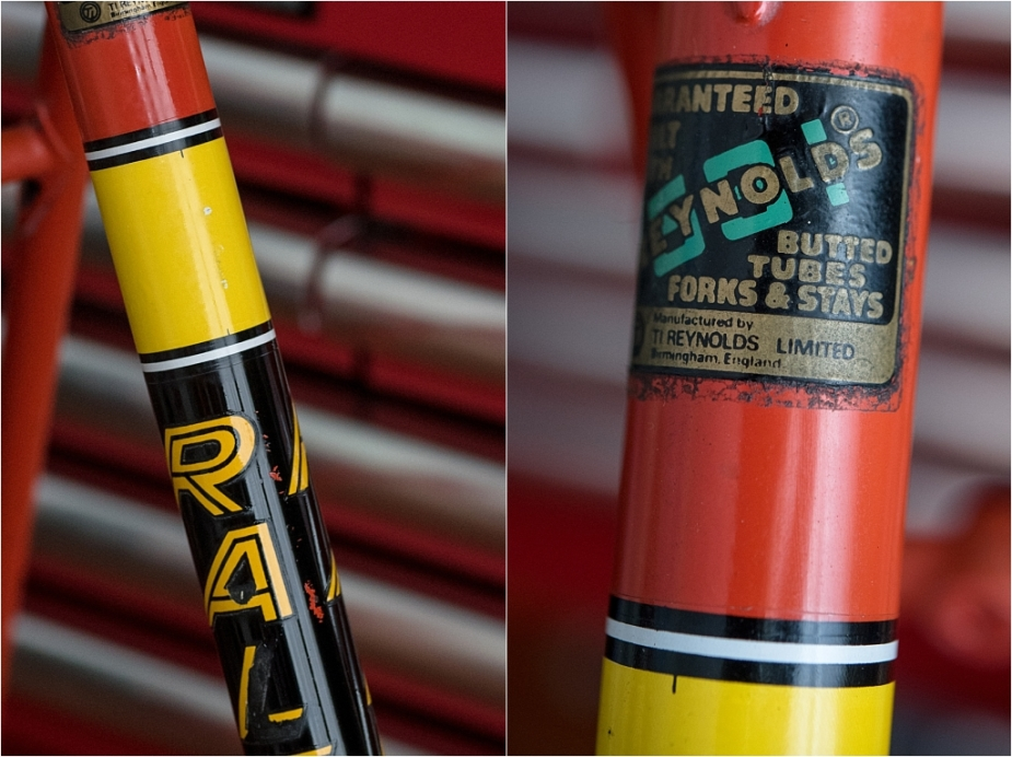 SBDU TI-Raleigh Seat Tube Panels Four Stripes Process Two Yellow Transfer Panel Front