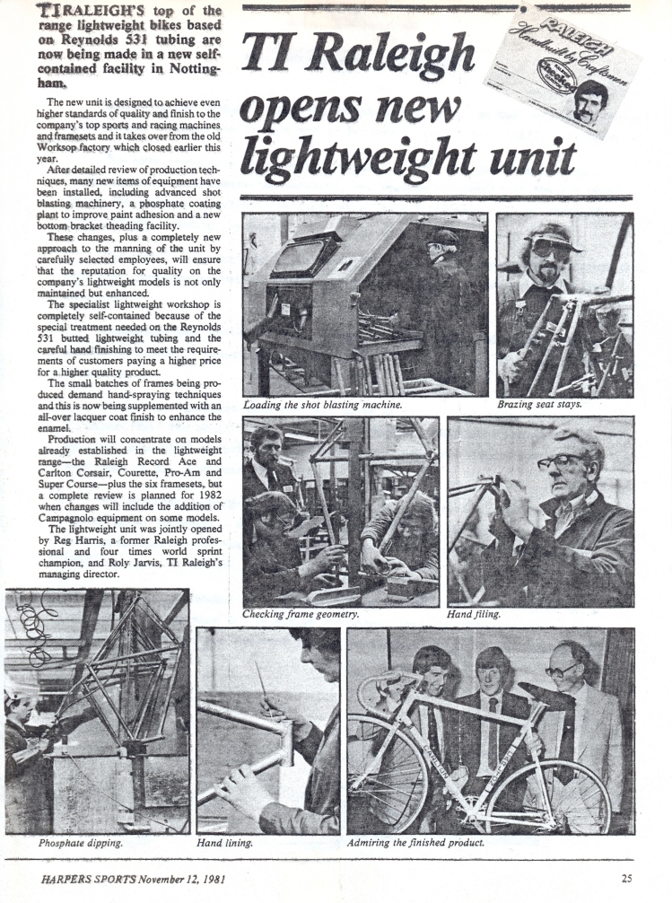 Raleigh Nottingham Lightweight Unit Opening 1981
